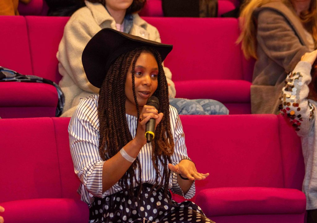 Kassandra Lauren Gordon in the audience during a talk at The Jewellery Cut Live in February 2020