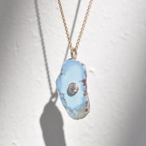 White/Space 14ct gold necklace with a Kazakstan turquoise pendant with an inlaid diamond