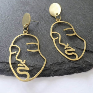 Ohemaa brass Picasso earrings