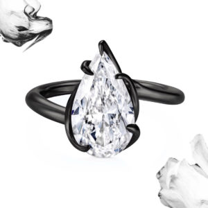 Thelma West black gold Black Rebel engagement ring set wit a 5ct pear-shaped diamond