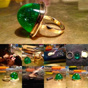 Trevor Davis emerald cabochon ring in various stages of the making process