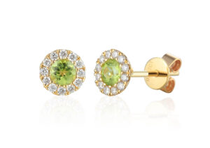 Ainsworth Jewellers 18ct gold, peridot and diamond cluster earrings