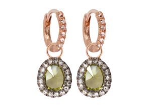 Annoushka 18ct rose gold diamond and peridot Dusty Diamonds drops and 18ct rose gold and diamond Dusty Diamonds hoops