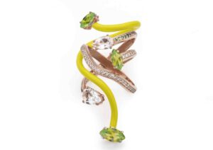 Bea Bongiasca 9ct rose gold, yellow enamel, peridot, rock crystal, tsavorite and diamond You're So Vine ring