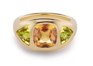 Brent Neale 18ct yellow gold Gypsy ring with orange sapphire and peridot, price on application
