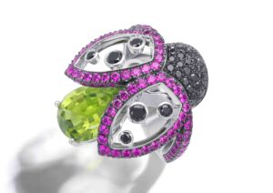 Bucherer 18ct white gold, black diamond, pink sapphire and peridot Ladybird ring