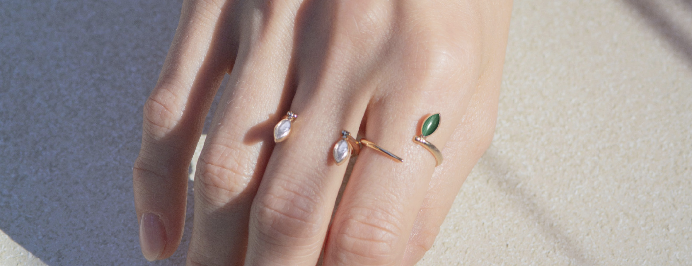 Marie Mas Summer Swinging Stones jewellery collection in 18ct rose gold set with mother of pearl and malachite