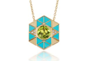 Harwell Godfrey 18ct gold, turquoise inlay, diamond and peridot Evil Eye necklace