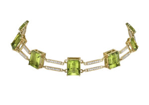Karma El Khalil 18ct yellow gold, diamond and peridot Railway choker