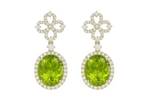 Kiki McDonough 18ct yellow gold, diamond and peridot Heart earrings