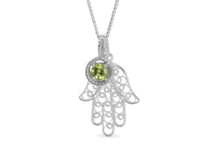 Lebrusan Studio silver filigree and fair trade peridot Hand of Fatimah pendant