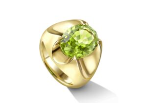 Liv Luttrell 18ct yellow gold Spear Tip ring set with 3.94ct Fuli Gemstones peridot