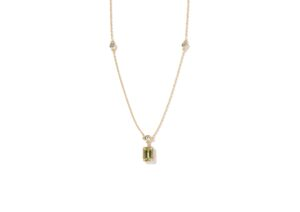 Milamore gold, diamond and peridot Birthstones necklace