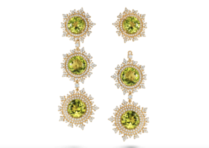 Nadine Aysoy 18ct gold, diamond and peridot Tsarina Spring Flake earrings