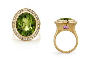 Omi Privé 18ct brushed gold, diamond, pink sapphire and peridot Ravello ring