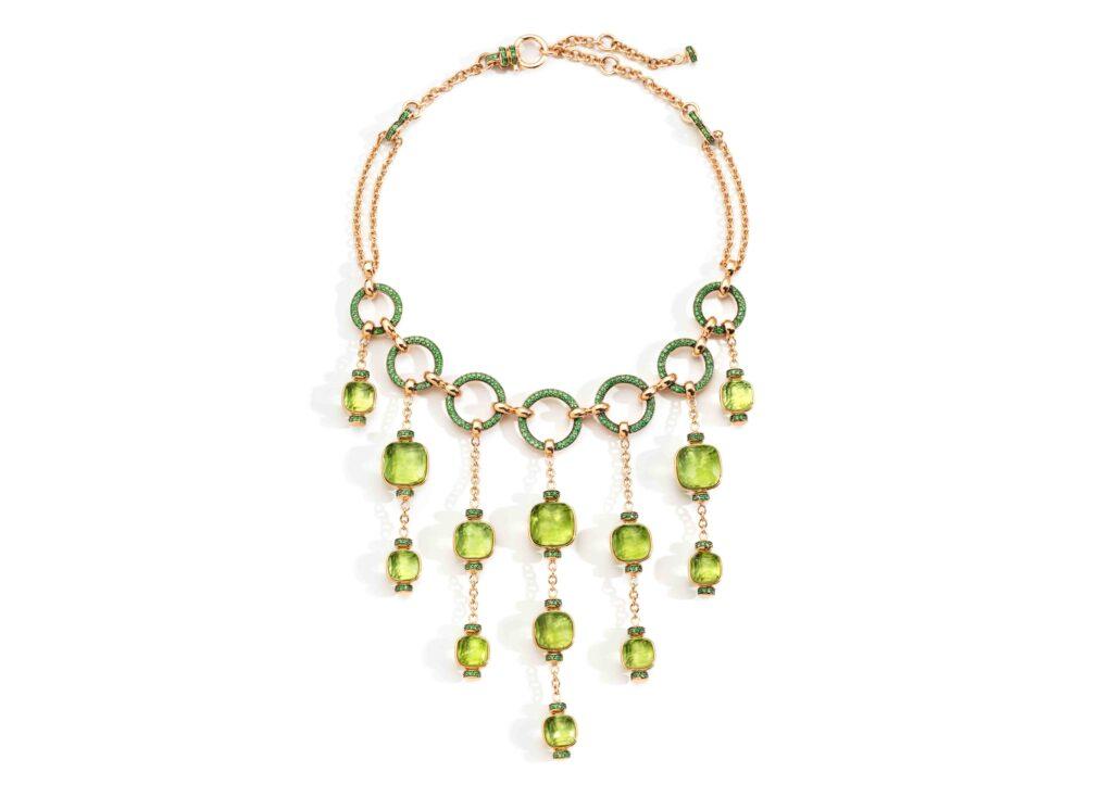 Pomellato 18ct gold, peridot and tsavorite Nudo Collier Cascade necklace