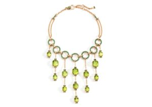 Pomellato 18ct gold, peridot and tsavorite Nudo Collier Cascade necklace
