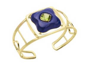 Rush Jewelry Design 18ct gold Draper cuff with an Afghan peridot set within lapis lazuli