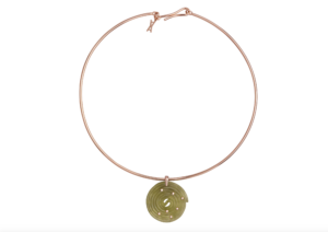 Alina Abegg 14ct rose gold Licorice choker with hand-carved peridot and diamond pendant