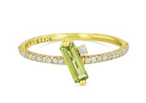 Suzanne Kalan 14ct gold, diamond and peridot Santorini ring