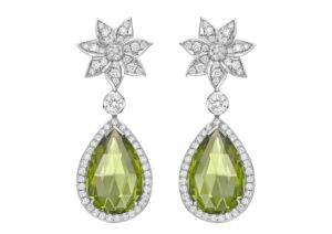 Theo Fennell 18ct white gold and diamond Chrysanthemum earrings with 15.72cts of peridot