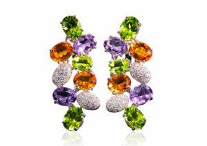 Fred of Paris 18ct gold, amethyst, peridot, citrine and diamond earrings at Tiina Smith