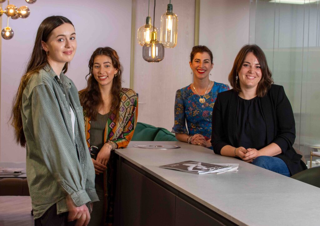 L-R: Finalists Holly O'Hanlon, Jasmine Ataullah, Katherine Brunacci of KAB Jewellery and Katharina Kraus