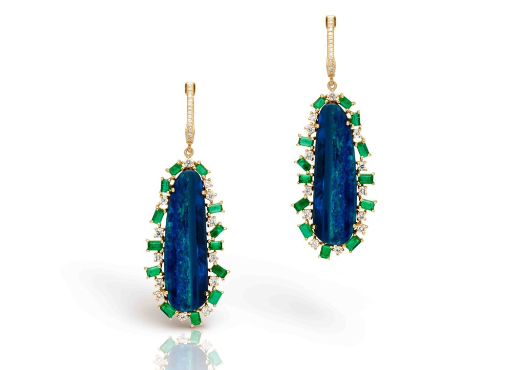 Anne Sisteron- 14KT Yellow Gold Diamond Opal Emerald Oblong Earrings