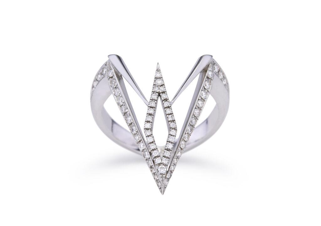 Ele Karela 18ct white gold and diamond White Tandem ring