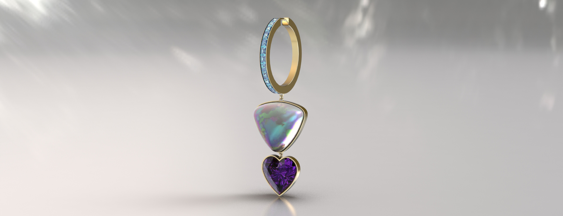 Andrey Yarden opal and amethyst earring