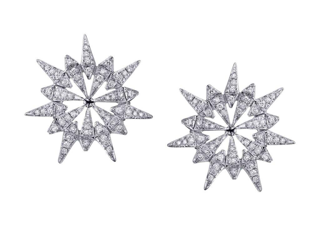 Karma El Khalil 18ct white gold and diamond Sunburst earrings