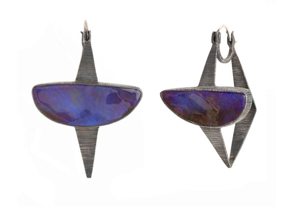 Mariella Pilato silver and boulder opal Deep Purple earrings