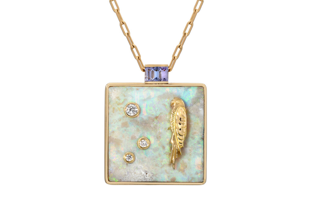 Retrouvai opal and tanzanite pendant