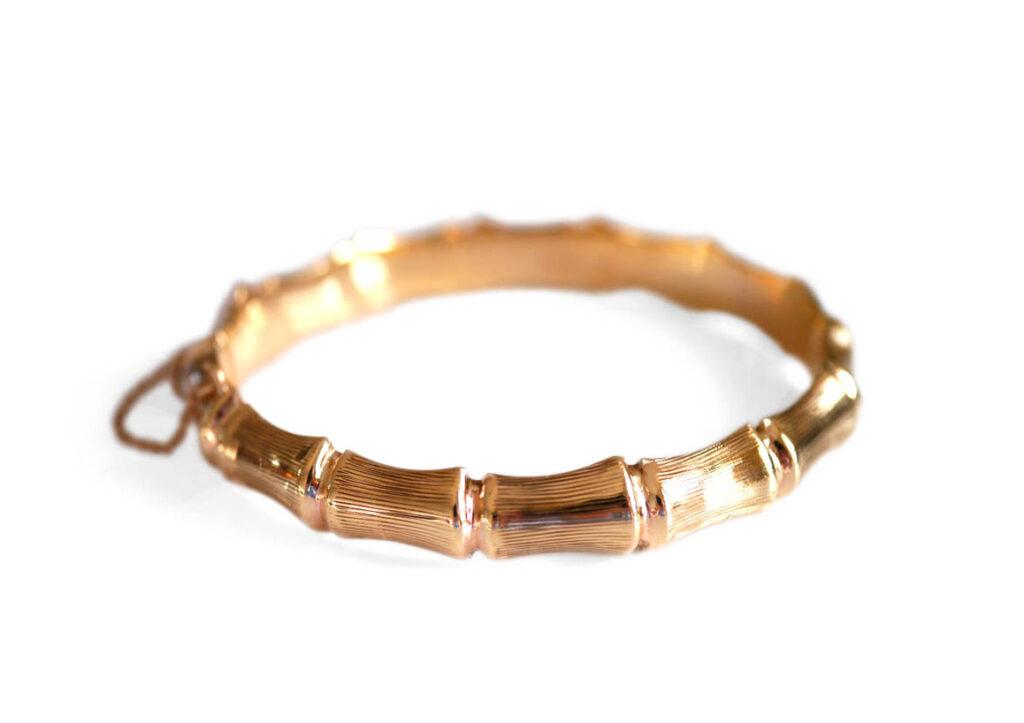 Baroque Rocks 1970s vintage gold Bamboo bracelet
