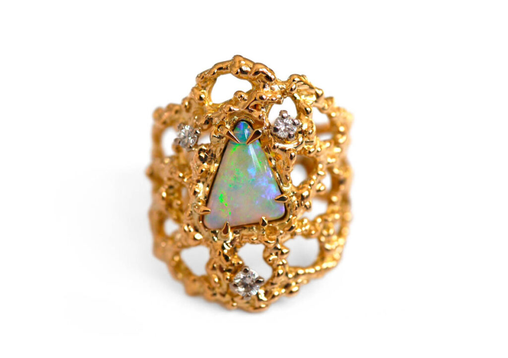Baroque Rocks vintage 1977 18K Gold Opal Cocktail Ring at The Jewellery Cut Shop