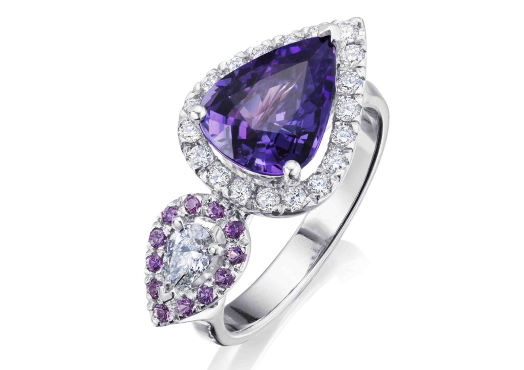 Charlotte Cornelius purple sapphire and diamond ring at The Jewellery Cut Shop