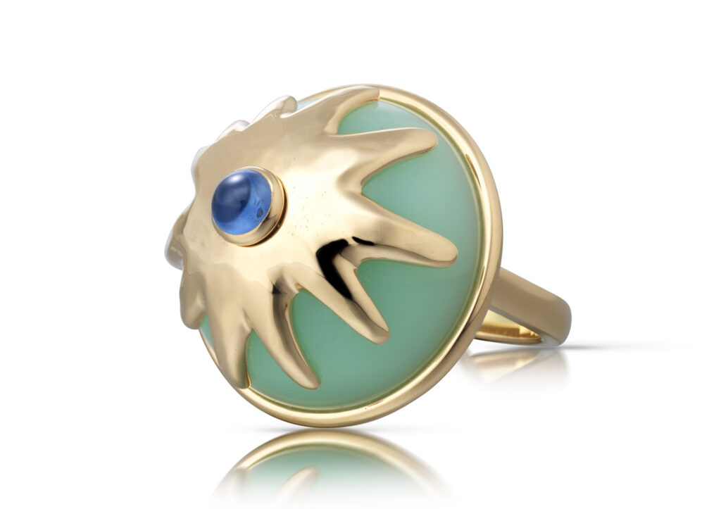 Cora Sheibani 18ct yellow gold, green opal and blue sapphire Pudding ring
