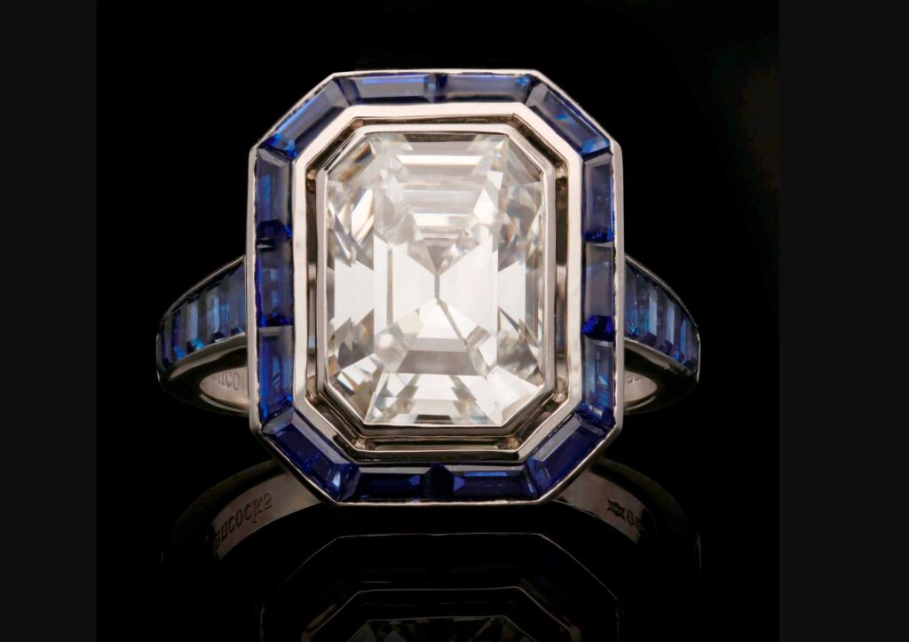 Hancocks sapphire and diamond ring at Burlington Arcade