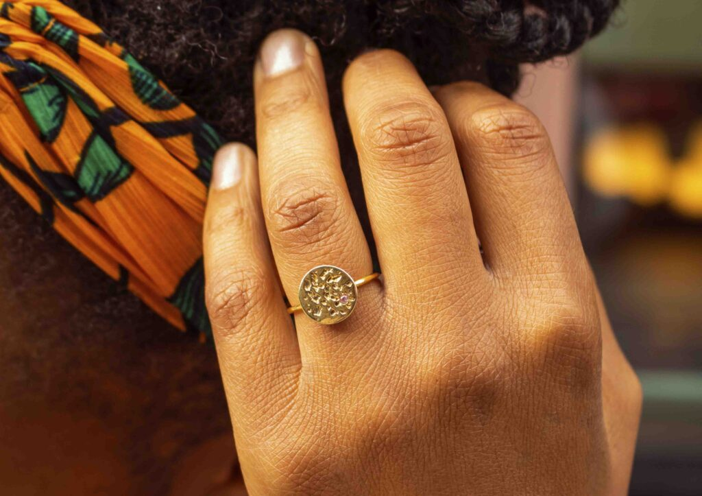 Kassandra Lauren Gordon gold vermeil and pink sapphire Io Moon ring