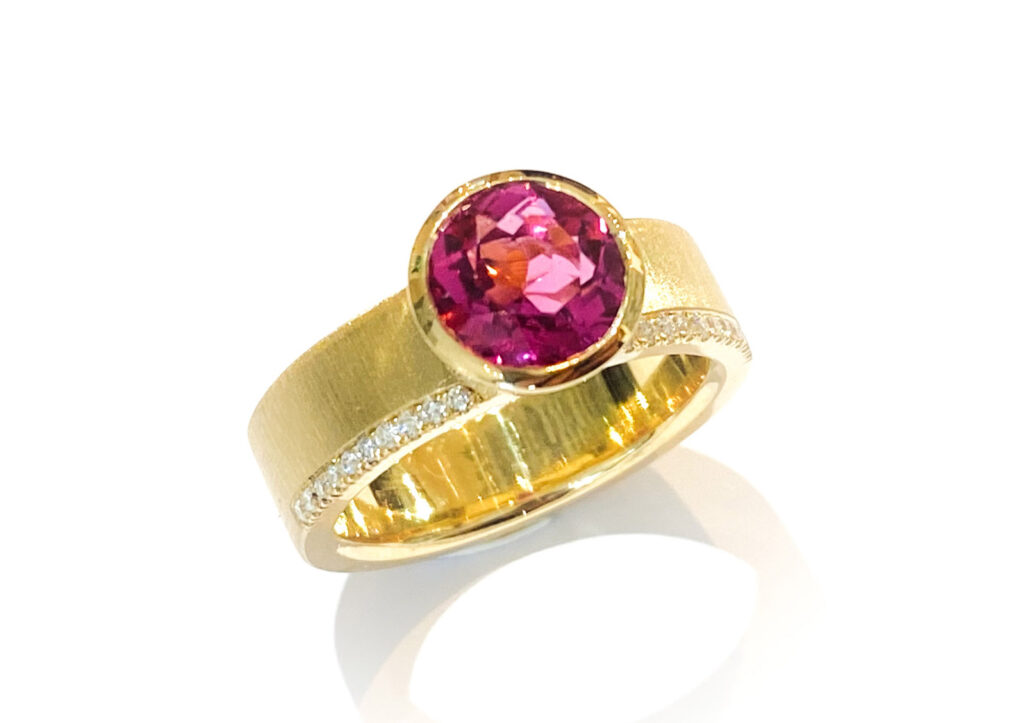 Libby Rak gold, diamond and Rubellite ring at The Jewellery Cut Shop