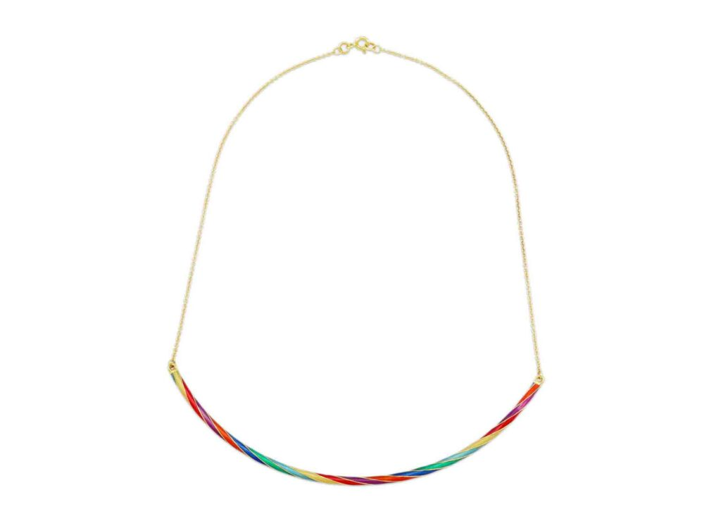 Origin 31 recycled 9ct yellow gold and enamel Candy Rock necklace