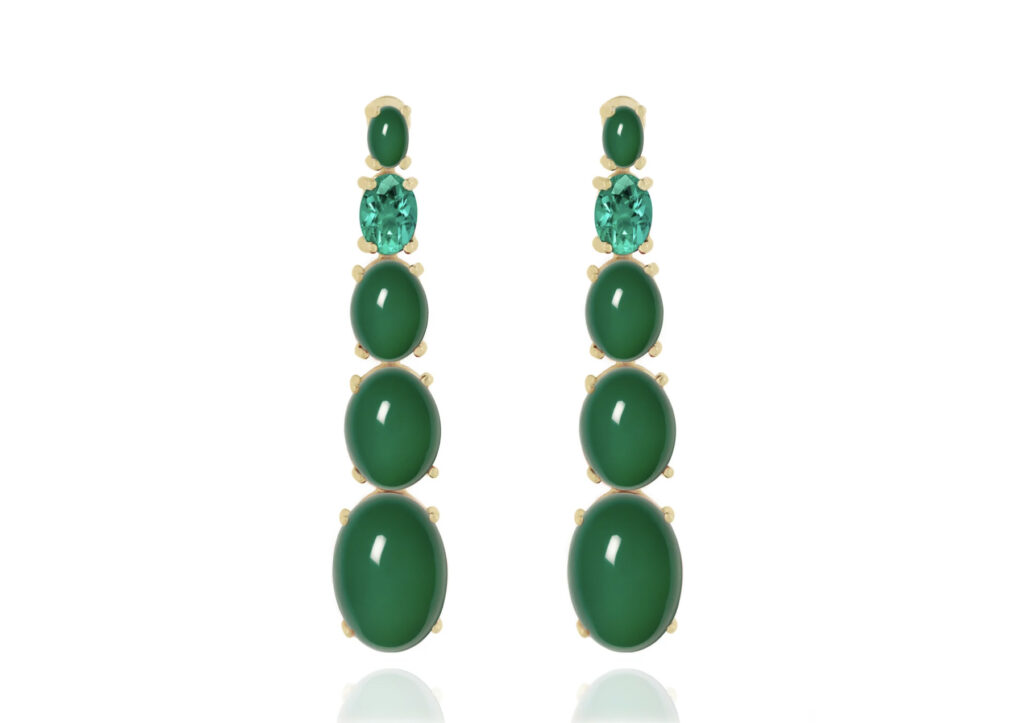 Orman green agate and topaz earrings