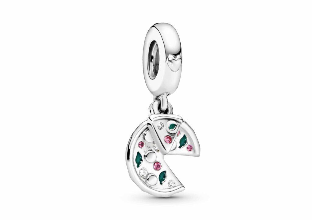 Pandora silver, enamel and cubic zirconia Pizza Love charm