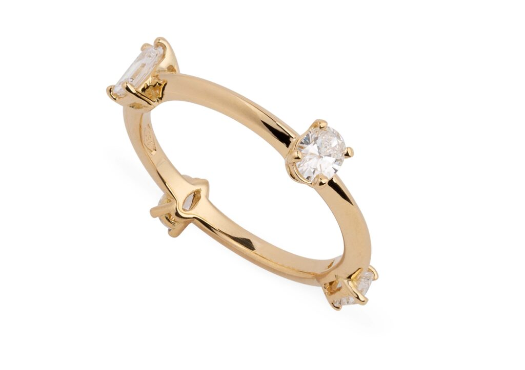 Reframed Jewelry gold and fancy-cut diamond Four Diamond ring