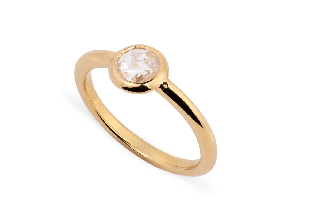 Reframed Jewelry gold and rose-cut diamond midi ring at The Jewellery Cut Shop