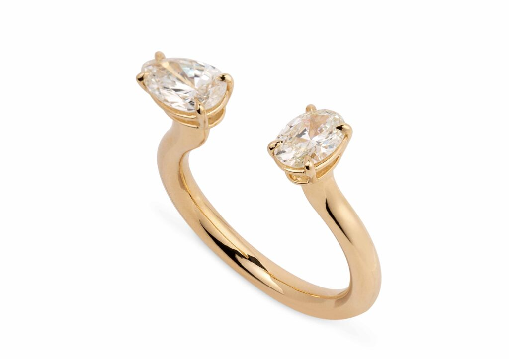 Reframed Jewelry gold open ring with fancy-cut diamonds at The Jewellery Cut Shop