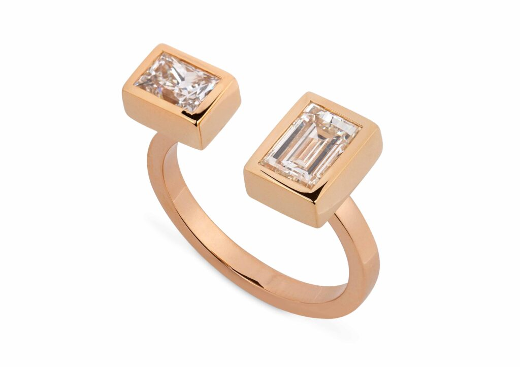 Reframed Jewelry rose gold and emerald-cut diamond open ring at The Jewellery Cut Shop