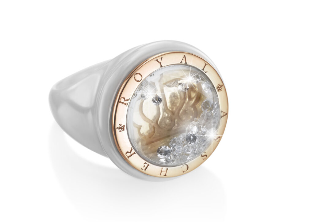 Royal Asscher gold, white ceramic and floating diamond Stellar ring