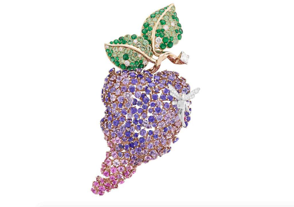 Van Cleef & Arpels 18ct gold, mauve and pink sapphire, emerald, tsavorite garnet, pearl and diamond Edna brooch