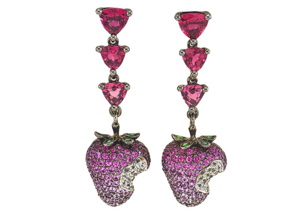 Wendy Yue blackened 18ct gold, pink sapphire, rubellite, tsavorite, white sapphire and wood Strawberry earrings